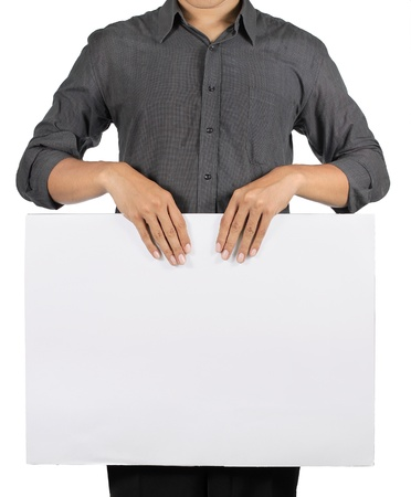 man holding blank white board isolated over white background photo