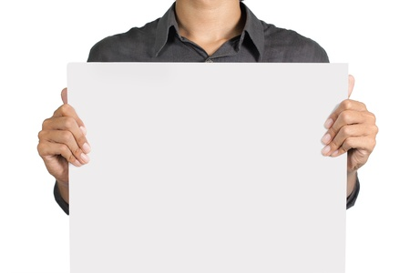 people holding sign: man holding blank white board isolated over white background