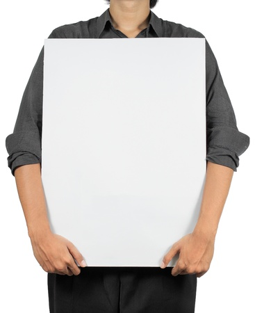 man holding blank white board Stock Photo - 8696728