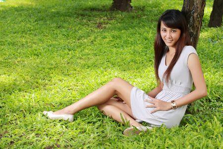 beautiful asian girl relaxing outdoor Stock Photo - 8696745