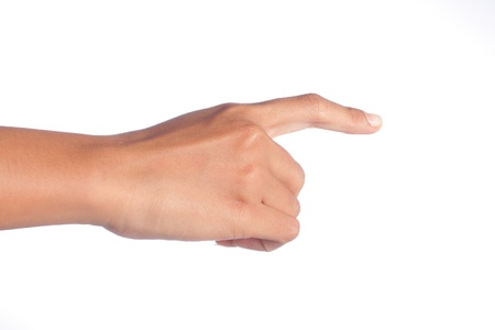 gesture of womans hand touching something
