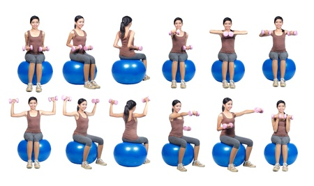 swiss ball: WOMAN DOING WORKOUT WITH WEIGHTS and pilates swiss ball