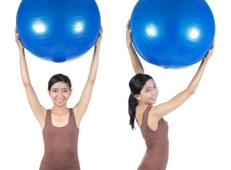 woman working out with swiss ball photo