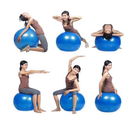 series of Young woman working out with swiss ball, isolated on white. photo