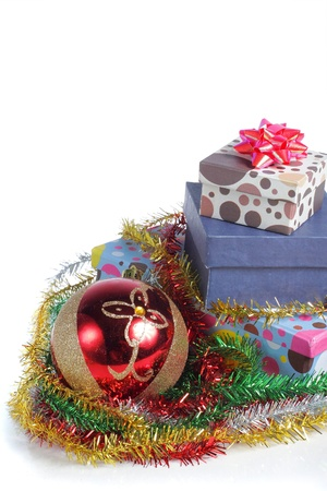 christmas balls and gift box Isolated on white. photo