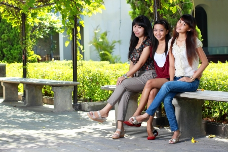 asian woman best friends having fun in the park Stock Photo - 8713979