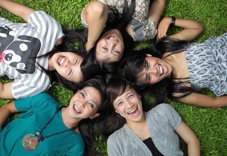 girl friends: five girl friend having fun