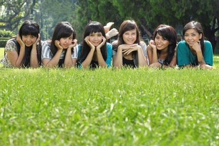 young asian best friend having laugh outdoor Stock Photo - 8714870