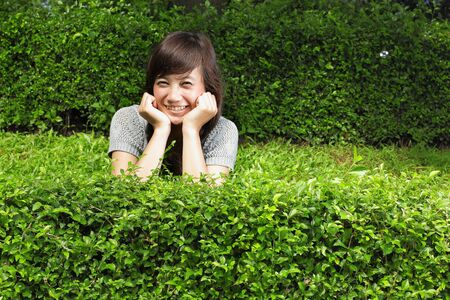 young beautiful smiling woman outdoors Stock Photo - 8714894