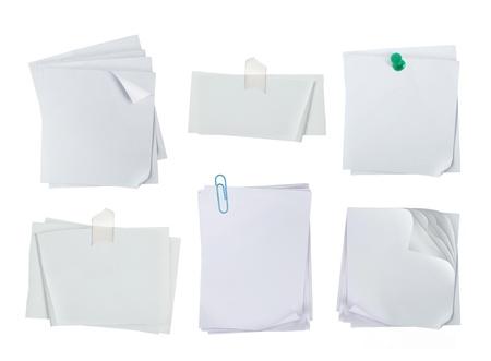 weiße Note Papier über white background