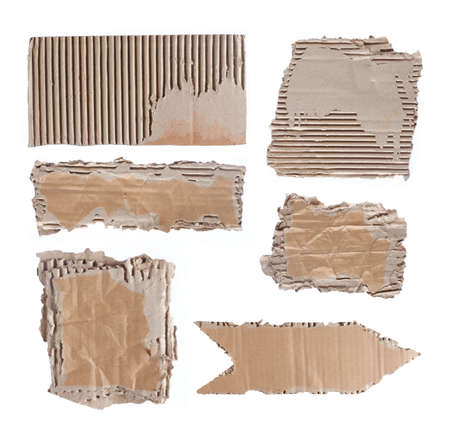 brown cardboard paper over white background. each shoot separately photo