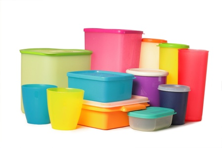 plastic container: packaging over white background