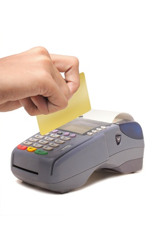 chip and pin: background, banking, business, buy, card, chip, commercial, credit, currency, customer, debt, electronic, finance, hand, isolated, keypad, machine, mobility, money, motion, paying, payment, pin, plastic, pos, pos-terminal, processing, purchase, reader, re Stock Photo