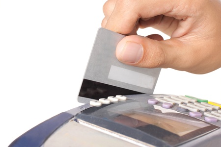 card reader: background, banking, business, buy, card, chip, commercial, credit, currency, customer, debt, electronic, finance, hand, isolated, keypad, machine, mobility, money, motion, paying, payment, pin, plastic, pos, pos-terminal, processing, purchase, reader, re Stock Photo