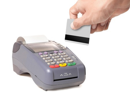credit card reader: background, banking, business, buy, card, chip, commercial, credit, currency, customer, debt, electronic, finance, hand, isolated, keypad, machine, mobility, money, motion, paying, payment, pin, plastic, pos, pos-terminal, processing, purchase, reader, re Stock Photo