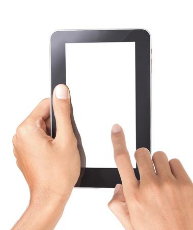 eine männliche Hand halten einen Touchpad-pc, berührt einem Finger den Bildschirm, isoliert auf weiss Standard-Bild