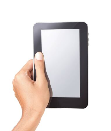 gesture of hand holding a touchpad tablet pc, isolated on white Stock Photo - 8892472