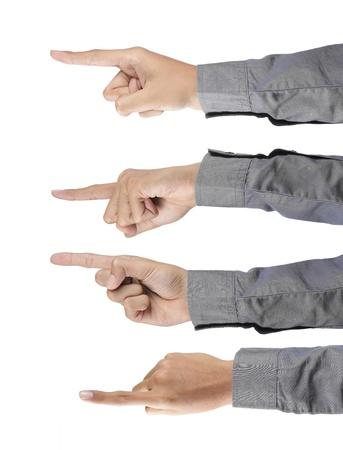 Gesten der Hand zeigen. isolated over white background Standard-Bild