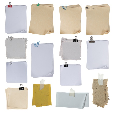 collection of different paper on white background. each one shot separately photo