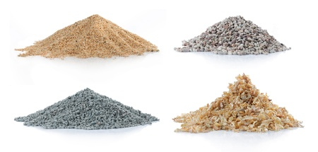 pile of sand, green carbon, pine wood and rock isolated over white background