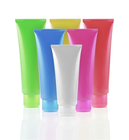 formation still life of product packaging in different color Stock Photo