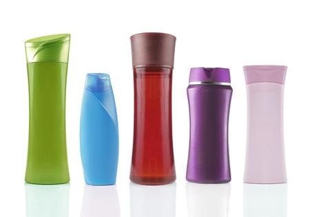 envases plasticos: paquete de productos de belleza ex�tica. aislados sobre fondo blanco Foto de archivo
