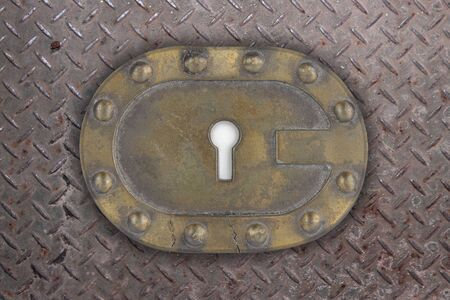keylock: rust key hole with grunge texture around it