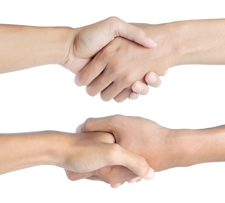 shaking hand. isolated over white background