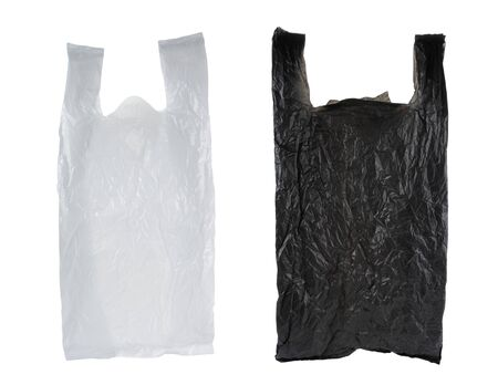 black and white plastic bag, isolated over white background photo