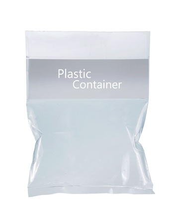 transparent plastic pack. isolated over white background photo