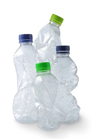 group of empty used plastic bottles on white background Stock Photo - 9090899