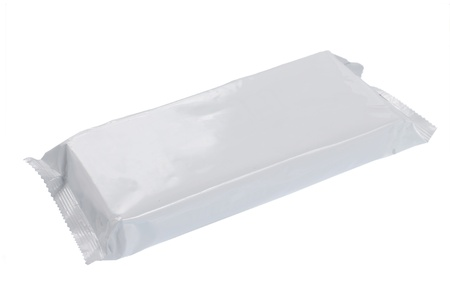 white blank foil packaging. plastic pack. ready for your design photo