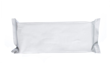 bagged: white blank foil packaging. plastic pack. ready for your design