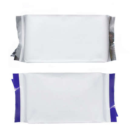 plastic pack with blue strips, isolated over white background photo