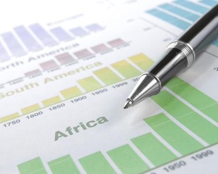 balancesheet: world wide Business background with pen Stock Photo