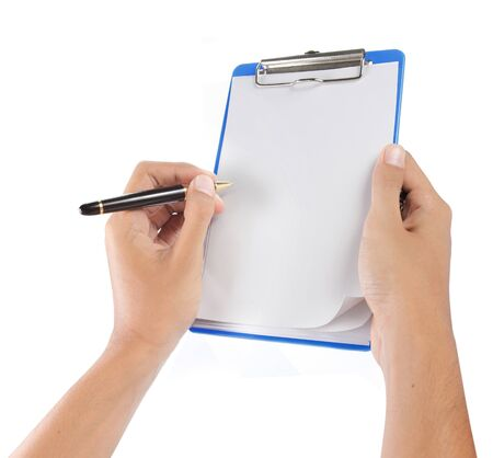 clipboard isolated: hands with sheet of paper and pen on clipboard isolated over white