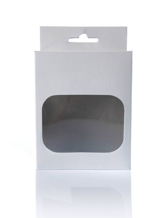 white cardboard box with a transparent plastic window. ready for your design photo