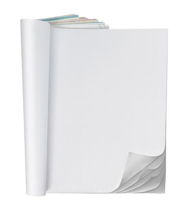 paper curl: P�ginas en blanco dentro de la revista con rizo de multi capa papel de diario Foto de archivo