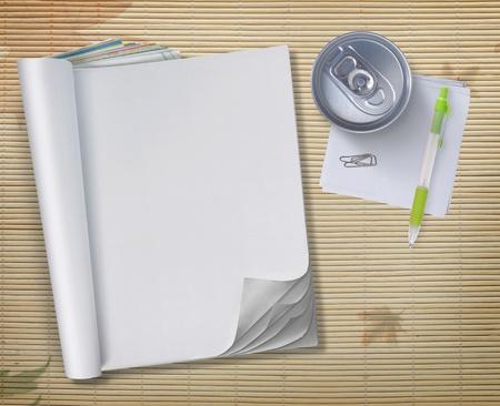 periodicos: libro en blanco conceptual con una lata de refresco y l�piz sobre fondo de madera Foto de archivo