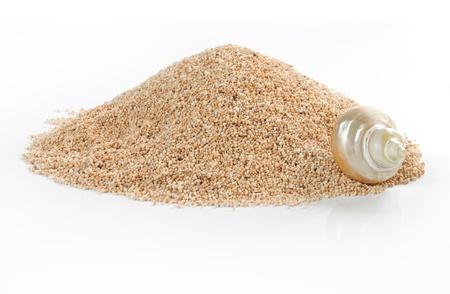 sandy: Mont�n de arena y shell aislado en blanco