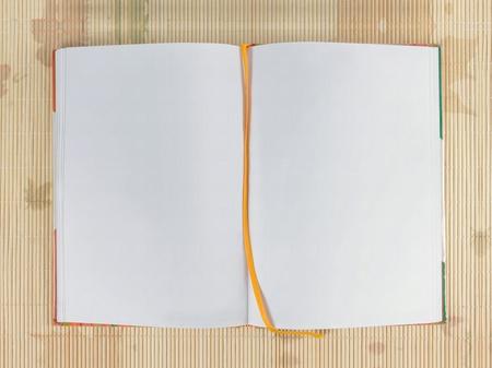 Weiße leere open Notebook über hölzerne Hintergrund Standard-Bild - 9204194