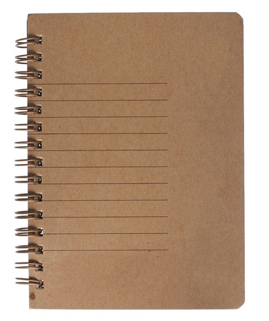 brown recycle paper notebook right page. isolated over white Stock Photo - 9244216