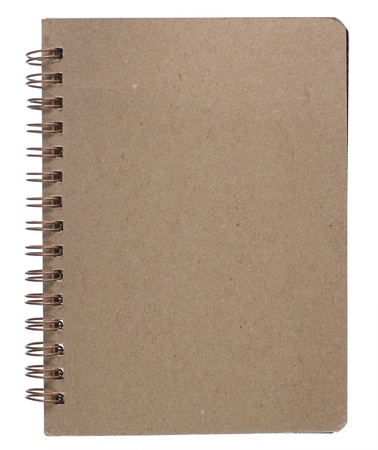 brown recycle paper notebook right page. isolated over white photo