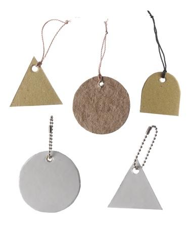 Blanko tag gebunden. Preisschild, Geschenkanhänger, Verkaufstag, Adressetikett, irgendeine unterschiedliche Form Standard-Bild - 9469665