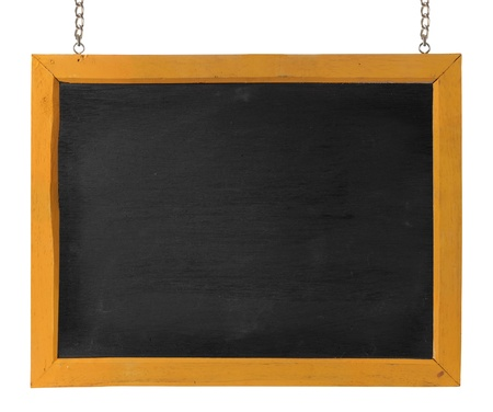 empty blackboard with wooden frame and chain. isolated over white photo