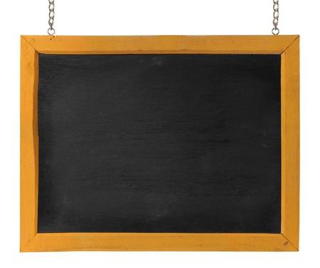 Leere Tafel mit Holzrahmen und Kette. isolated over white Standard-Bild - 9469649