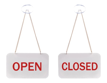 open and closed signs isolated over white photo