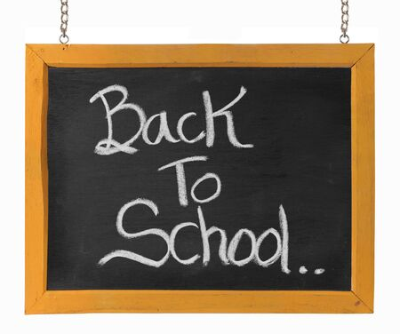 Back to school text on blackboard. isolated over white Stock Photo - 9469652