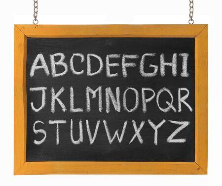 upper case: complete letters of English alphabet capital upper case on blackboard