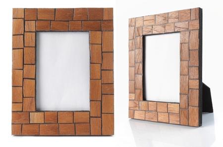 table wood photo frame isolated on white background Stock Photo - 9469595
